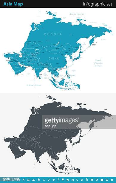 asia map - infographic set - pacific ocean stock illustrations, clip art, cartoons, & icons