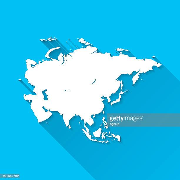 Asia Map on Blue Background, Long Shadow, Flat Design