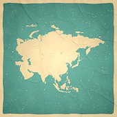 Asia Map on old paper - vintage texture
