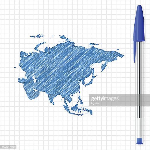 Asia map sketch on grid paper, blue pen
