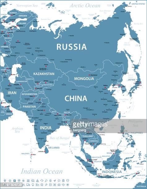 アジア地図。国境とナビゲーション アイコンを使用したベクターイラストレーション - 国境点のイラスト素材/クリップアート素材/マンガ素材/アイコン素材