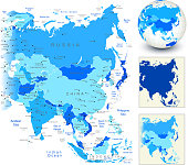 Asia Map with blue globe and country outlines