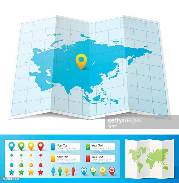 asia map with location pins isolated on white background - south asia stock illustrations