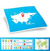 Asia Map with location pins isolated on white Background
