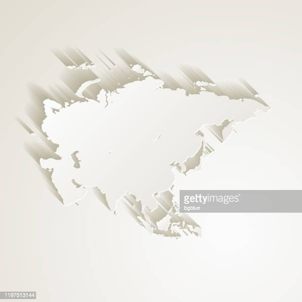 asia map with paper cut effect on blank background - eurasia stock illustrations