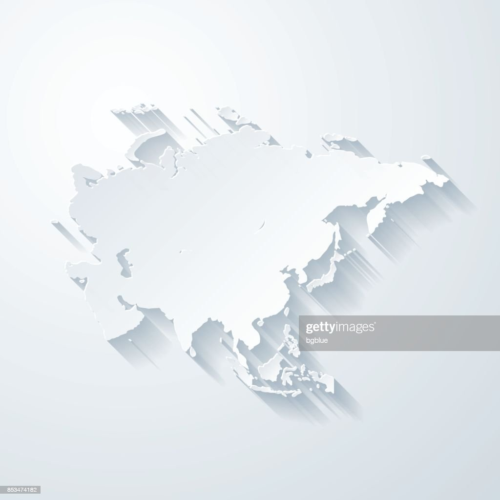 Asia map with paper cut effect on blank background