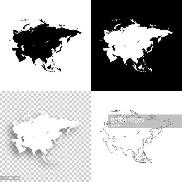 Asia maps for design - Blank, white and black backgrounds
