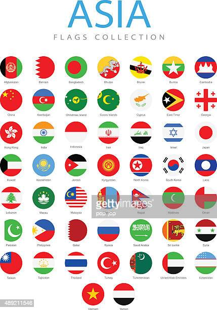 asia - rounded flags - illustration - national flag stock illustrations