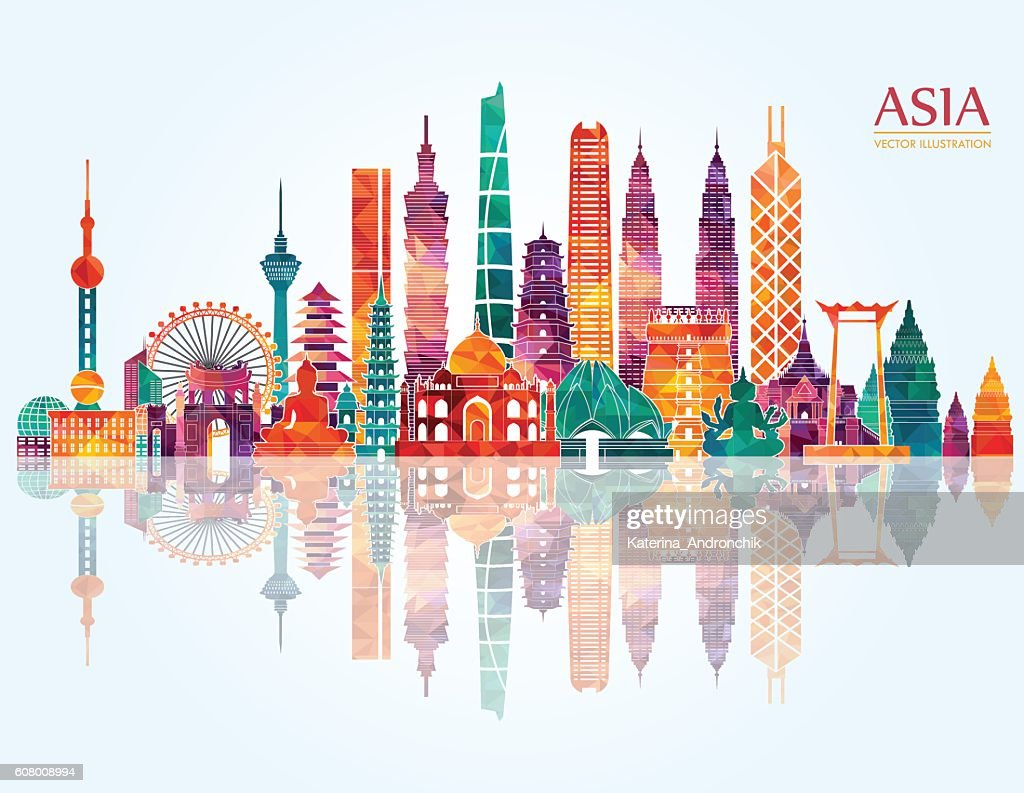Asia skyline detailed silhouette. Vector illustration