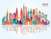 Asia skyline. Vector illustration