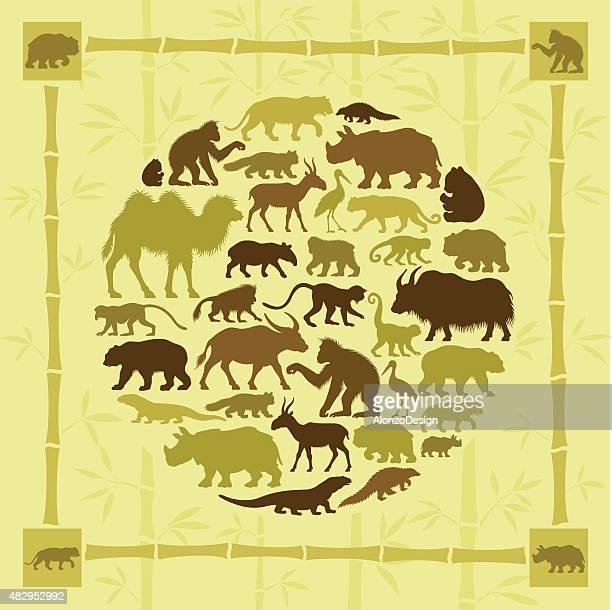 Asian Animals Collage