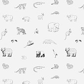asian animals doodle graphic vector pattern