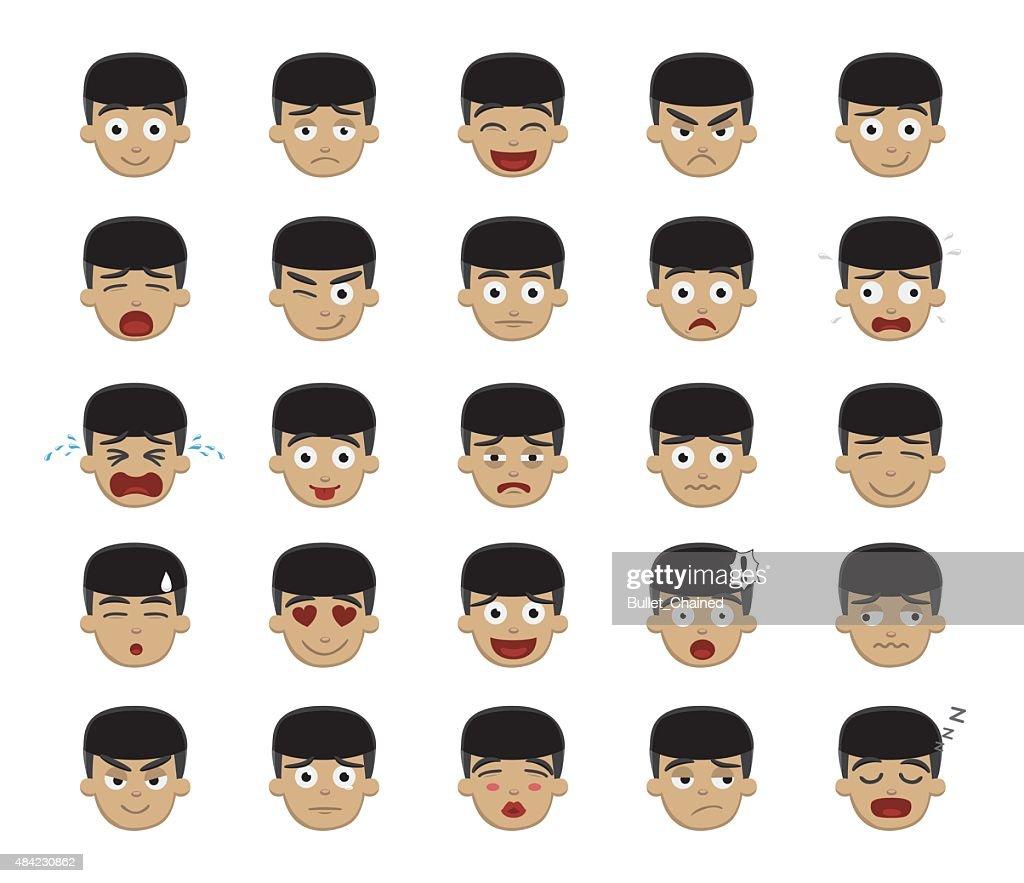 Asian Boy Emotion Faces Vector Illustration