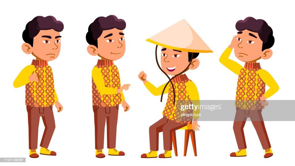 Asian Boy Kindergarten Kid Poses Set Vector. Festival, Dragon. Character Playing. Childish. Casual Clothe. For Presentation, Print, Invitation Design. Isolated Cartoon Illustration