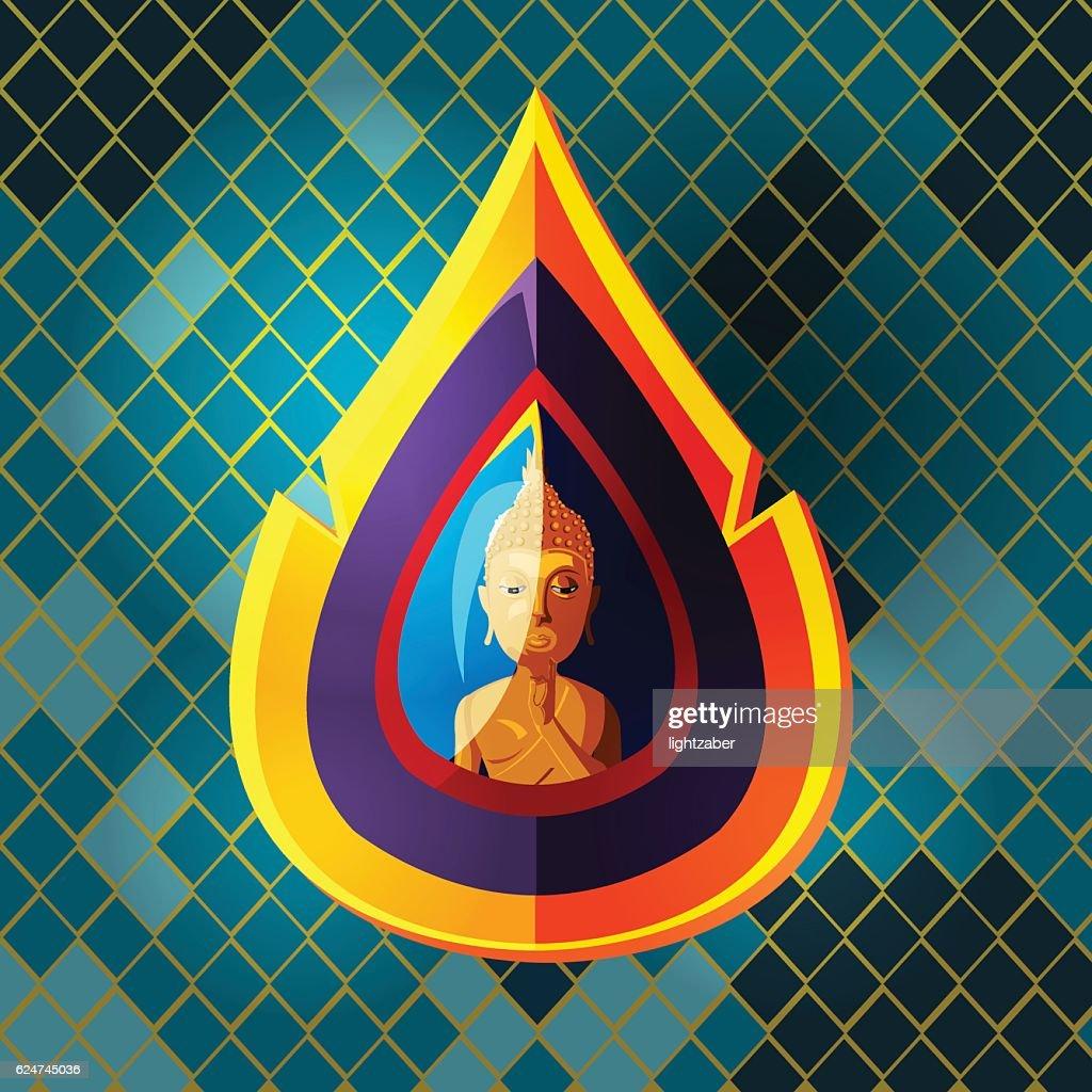 Asian Buddha Culture Art Style Vector