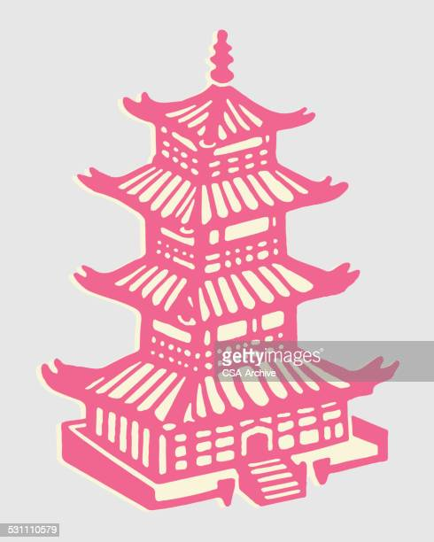 asian building - pagoda stock illustrations, clip art, cartoons, & icons