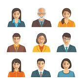 Asian business people simple flat vector avatars