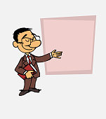 Asian businessman points, relaxed, with a book in his hand. Is showing, as in a presentation, the data you want.