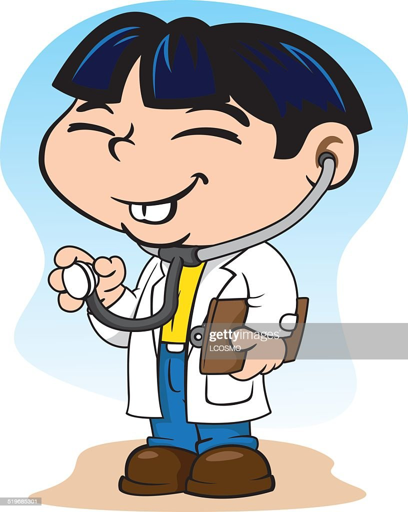 Oriental child with doctor uniform, with stethoscope and clipboard