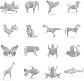 Asian creative origami animals vector collection
