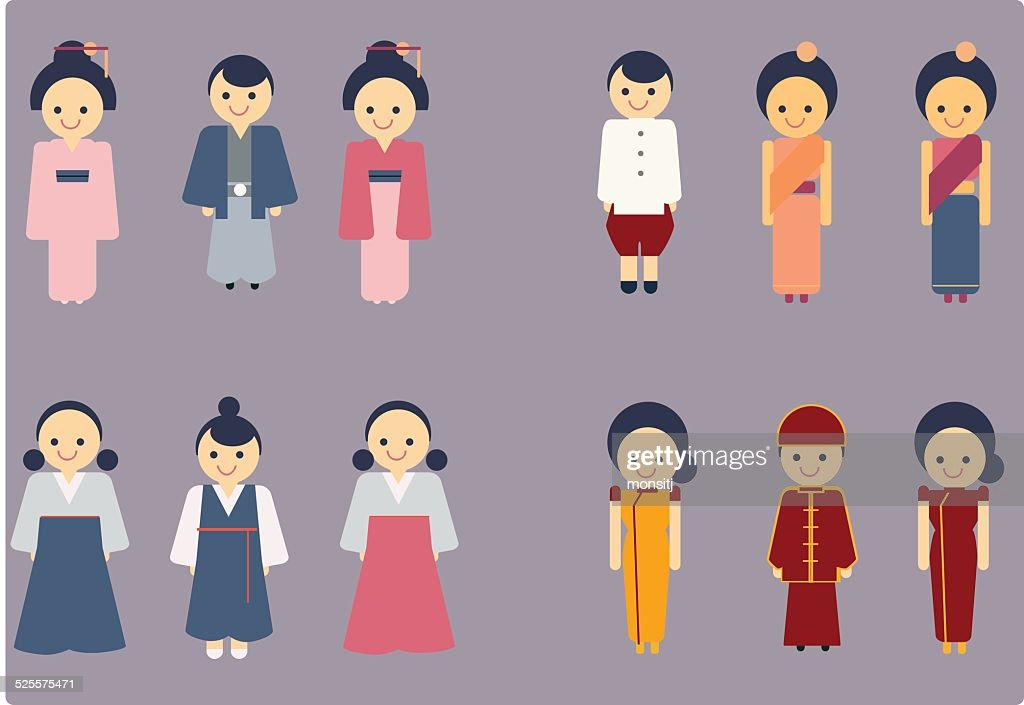 asian culture icon vector set
