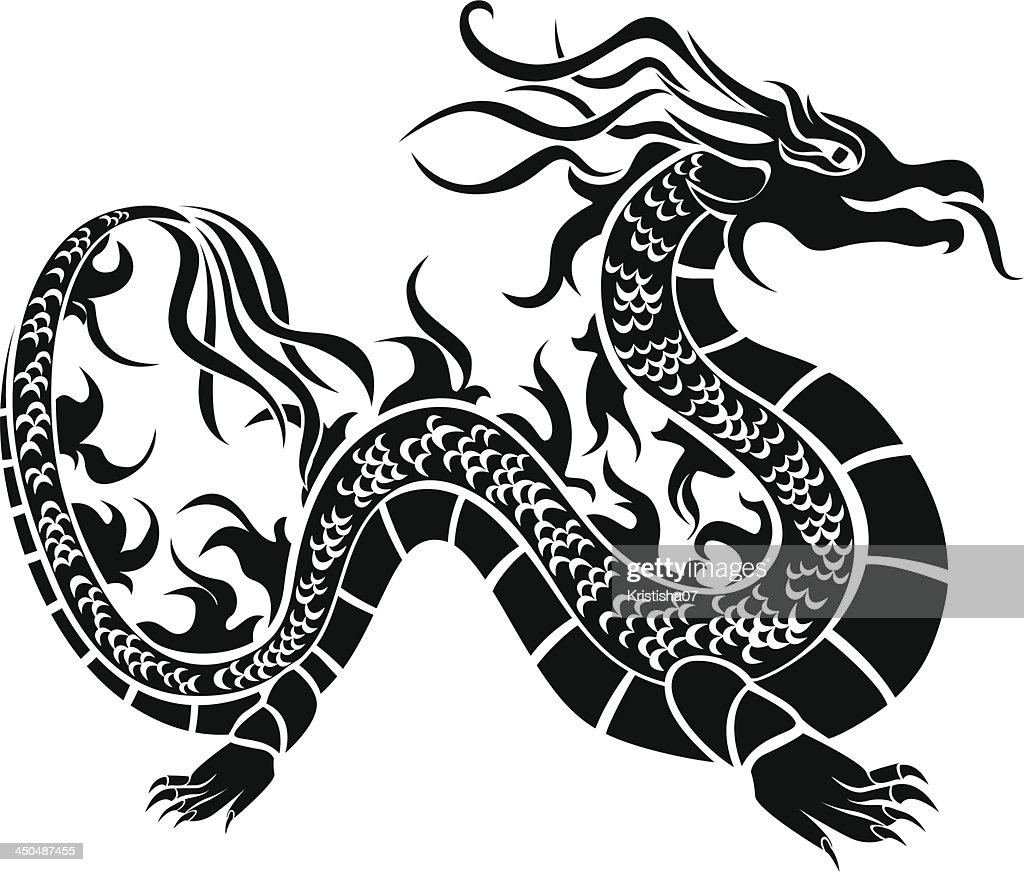Asian dragon, black stencil
