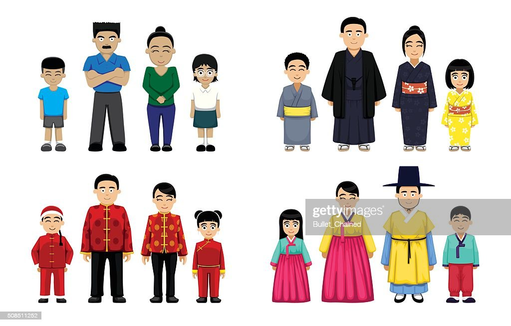Asian Families Set Cartoon Vector Illustration