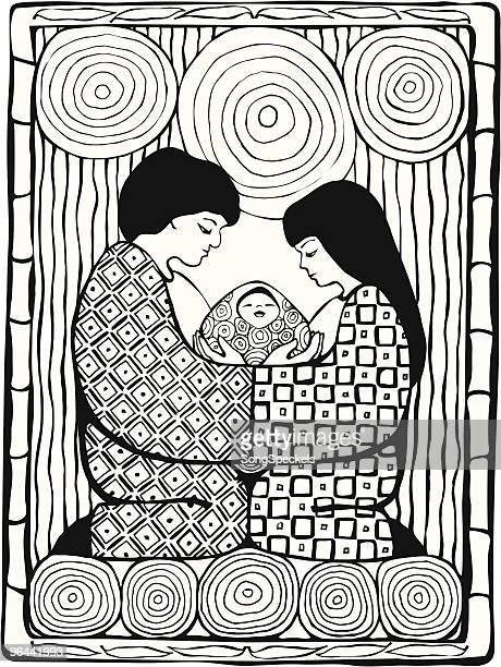 asian family portrait - japanese mom stock illustrations, clip art, cartoons, & icons