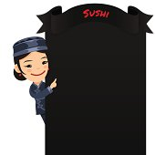 Asian Female Chef Looking at Blank Menu
