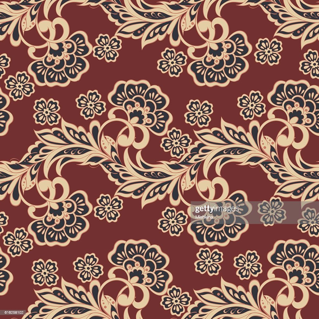 asian floral seamless pattern. vector background : Vector Art