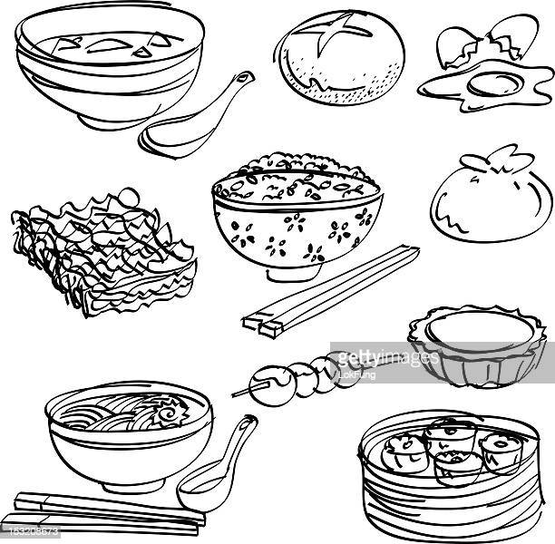 Asian food Collection in black and white
