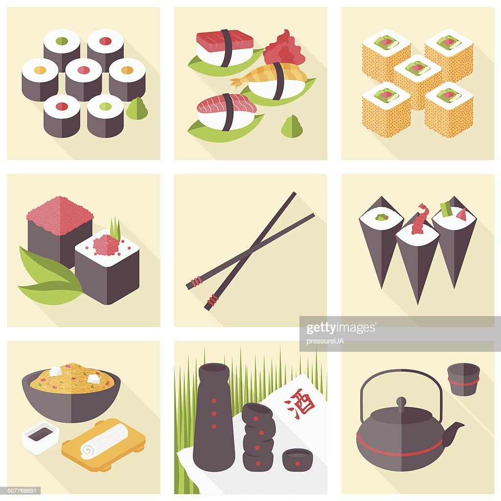 Asian food flat icons set