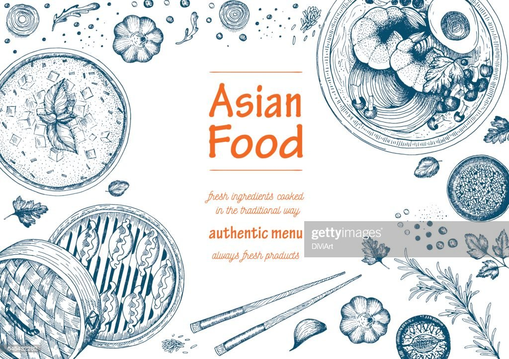 Asian food frame menu
