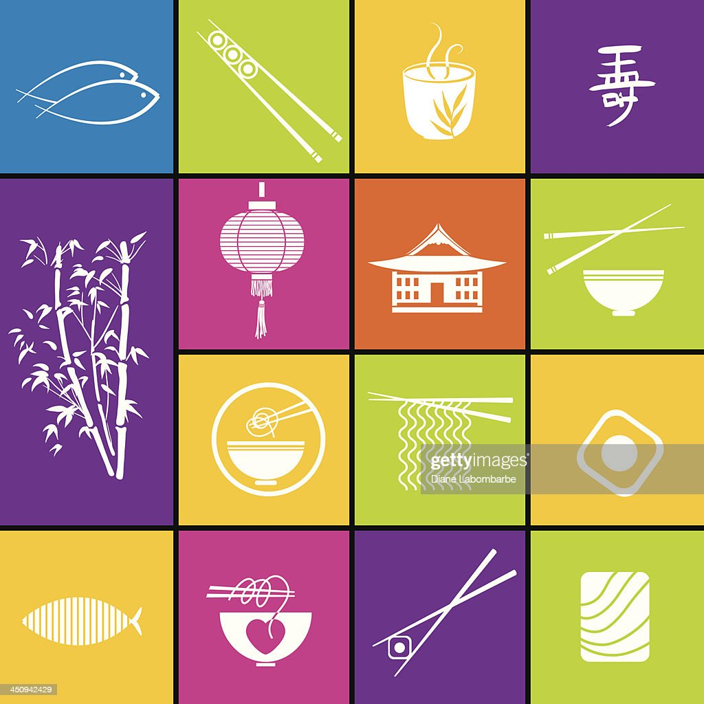 Asian Food Restaurant Icons.