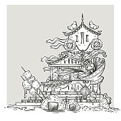asian food temple line art fantasy image for your colorong book