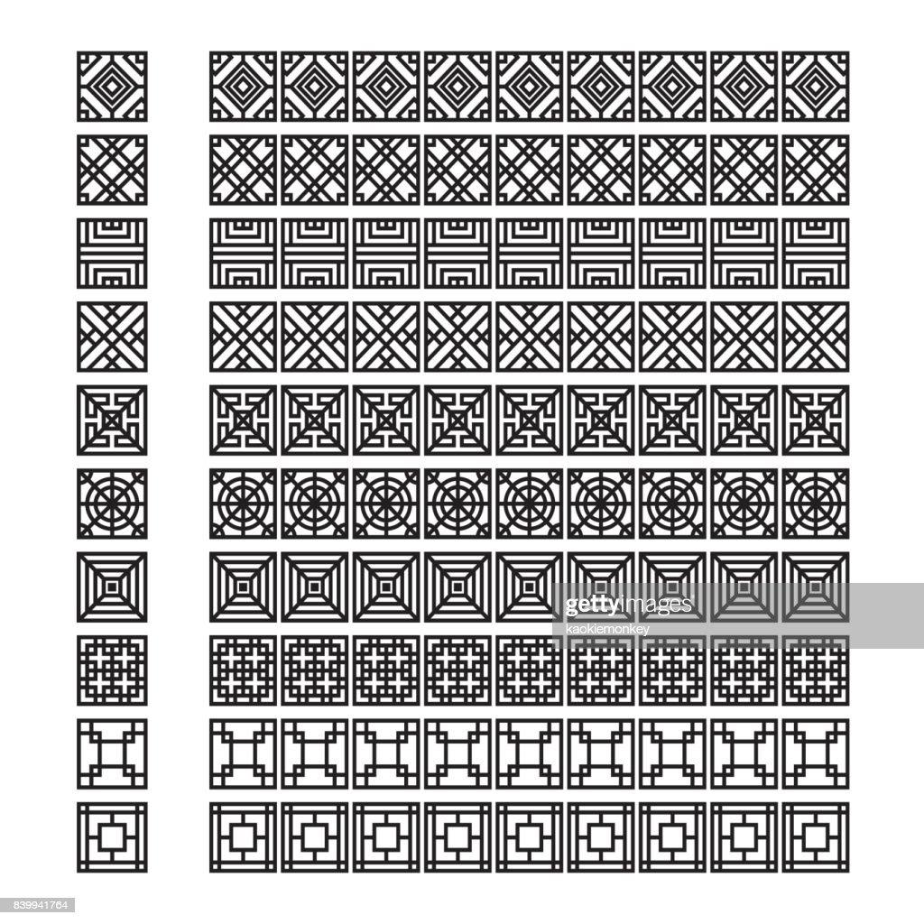 Asian frame ornament, pattern brush ,korean, chinese, japanese vector set