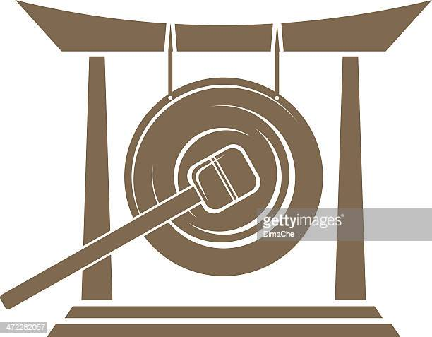 asian gong graphic in brown on white background - percussion mallet stock illustrations