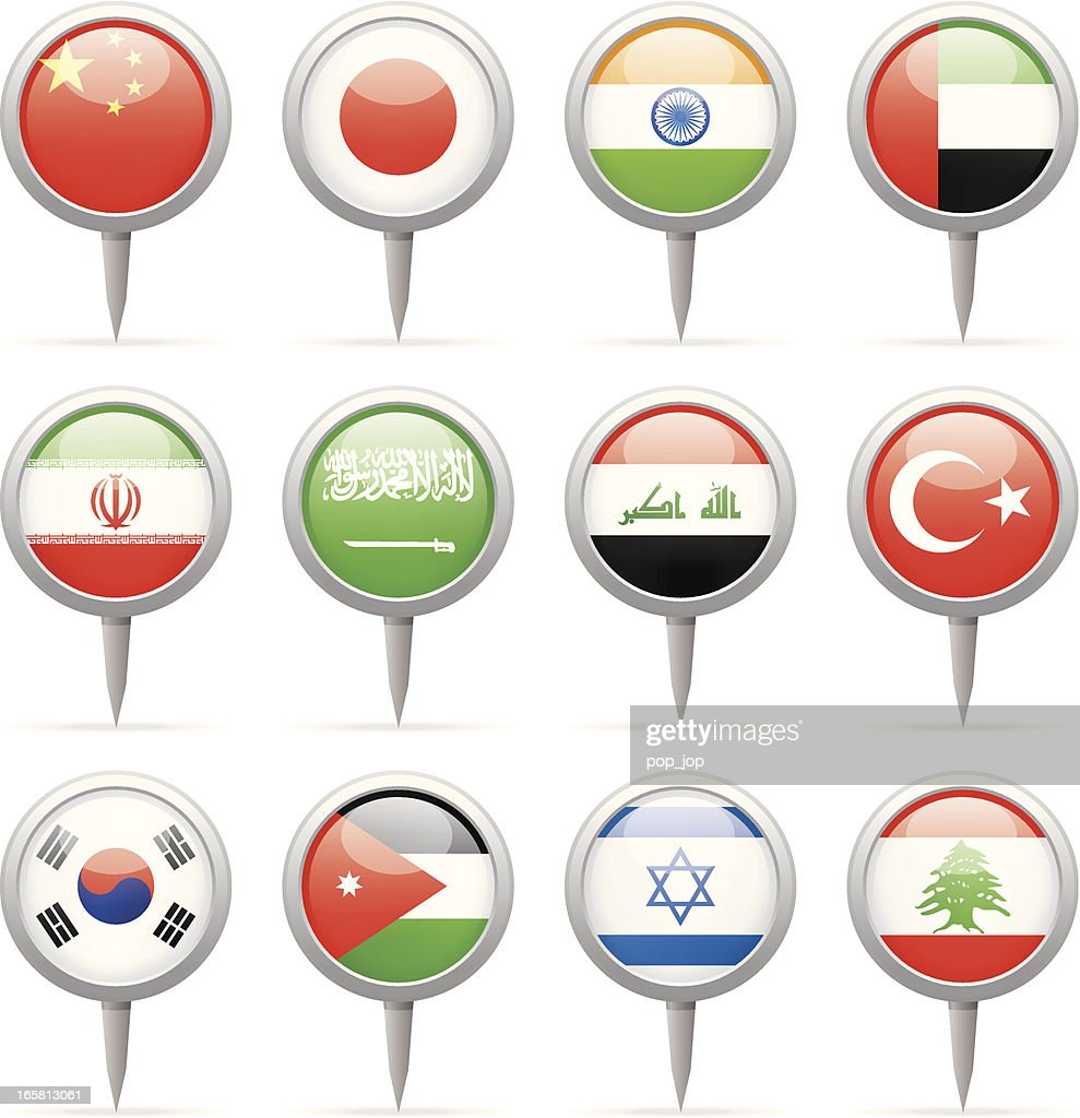 Asian illustration of round flag pins