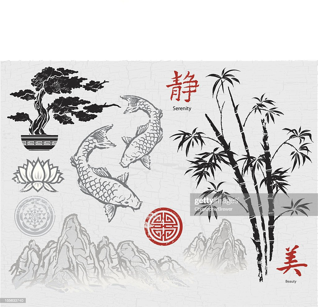 Asian ink design elements