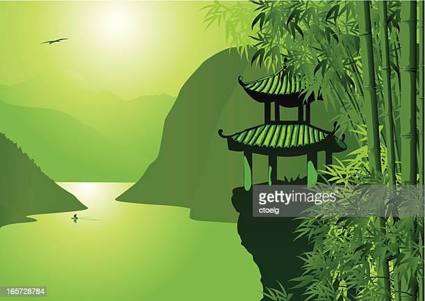 ilustraciones, imágenes clip art, dibujos animados e iconos de stock de asiática paisaje de - valle