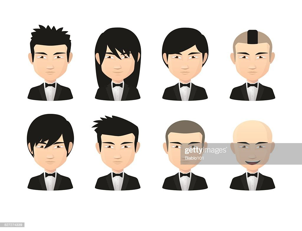 Asian male avatars with various hair styles wearing tuxed