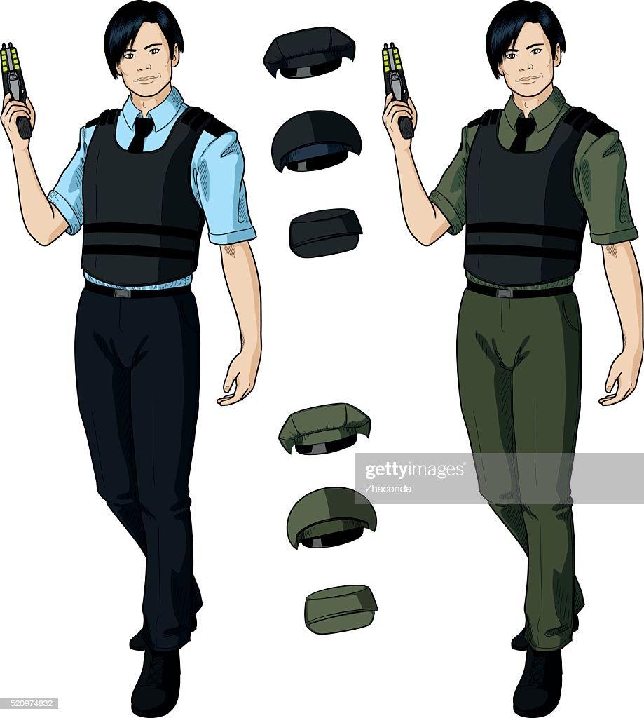 Asian male police officer holds taser