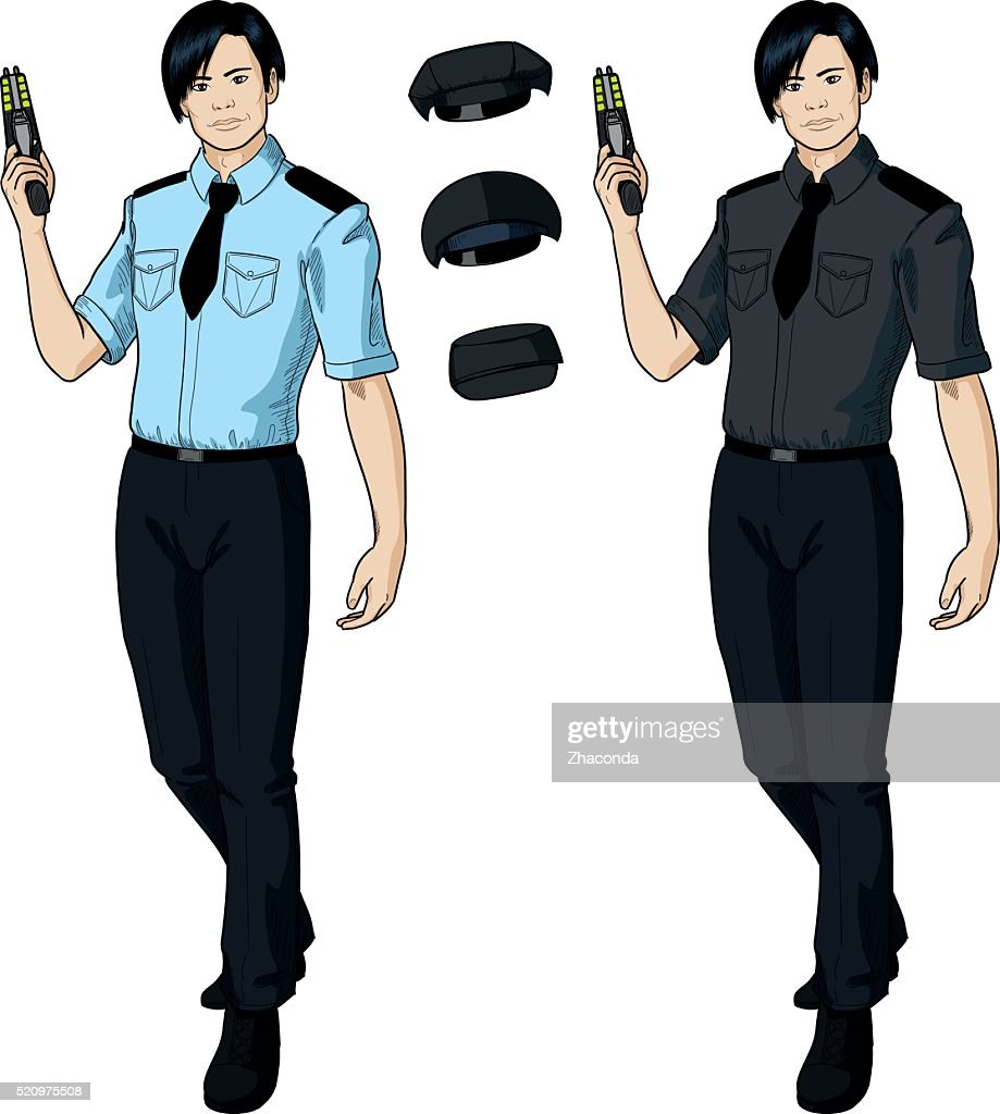 Asian male police officer holds taser