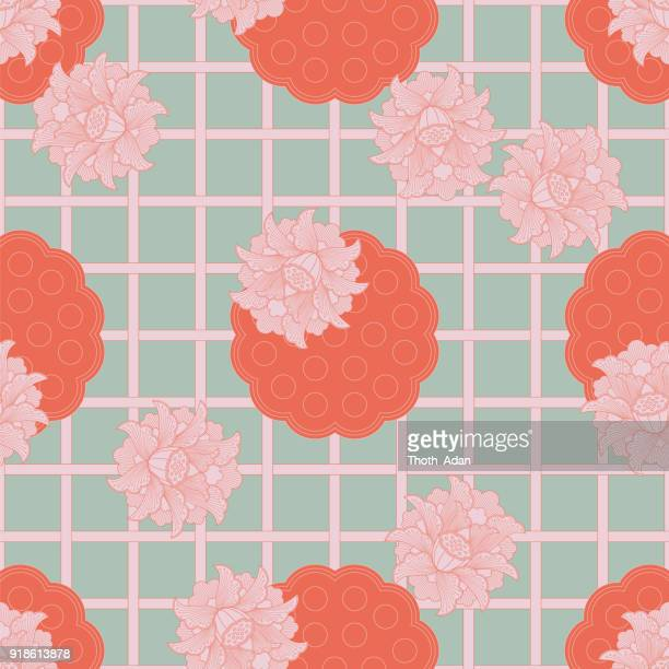Asian Mesh Grid Pattern with Lotus Flower Blossoms and Pods (Three-Colored Version)