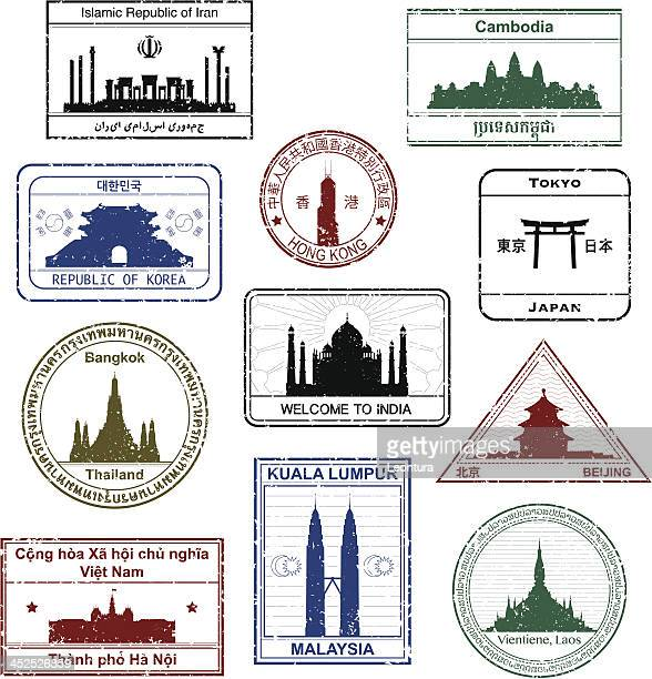 Asiatique timbres de passeport