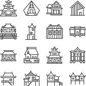 Asian property line icon set. Included the icons as Thai house, Japanese house , Chinese house, palace, home, estate and more.
