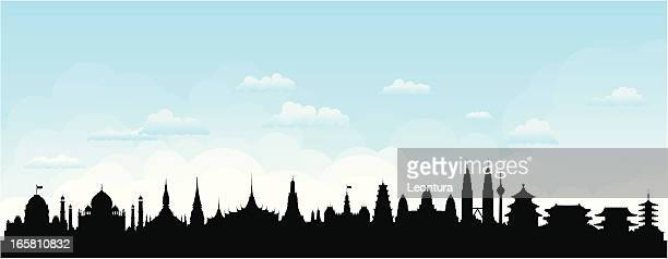 asian skyline (buildings are detailed, moveable and complete) - seoul stock illustrations, clip art, cartoons, & icons