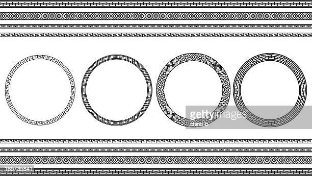 Asian style circle frames and borders
