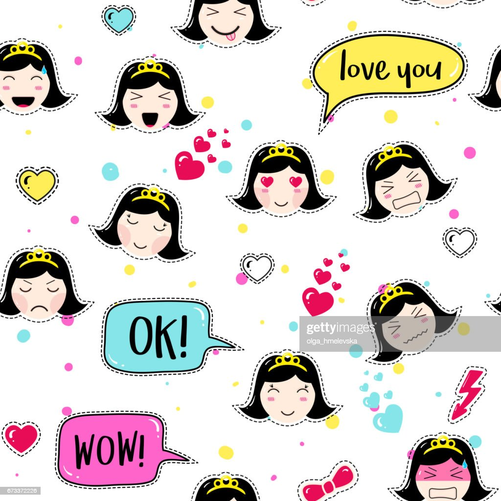 Asian style seamless pattern with anime emoticons girl