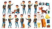 Asian Teen Boy Poses Set Vector. Active, Expression. For Presentation, Print, Invitation Design. Isolated Cartoon Illustration